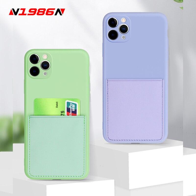 N1986N Phone Case For iPhone 11 Pro X XR XS Max SE 2020 6 6s 7 8 Plus Fashion Card Slot Design Soft Liquid Silicone For iPhone X