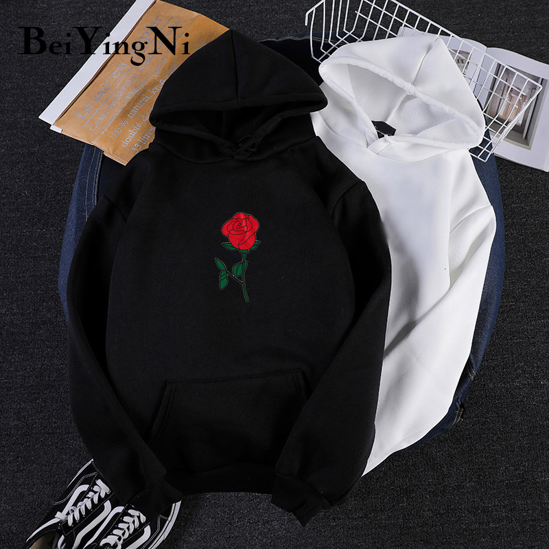 Beiyingni Korean BF Women Hooded Hoody Plus Size Autumn Fleece Rose Floral Print Oversized Sweatshirts Womens Plus Size Hoodies