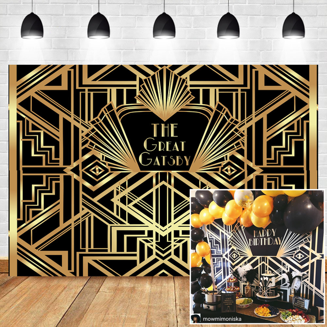 NeoBack The Great Gatsby Backdrops Gatsby Happy Birthday Party Banner Decoration Photography Backdrops Studio Shoots