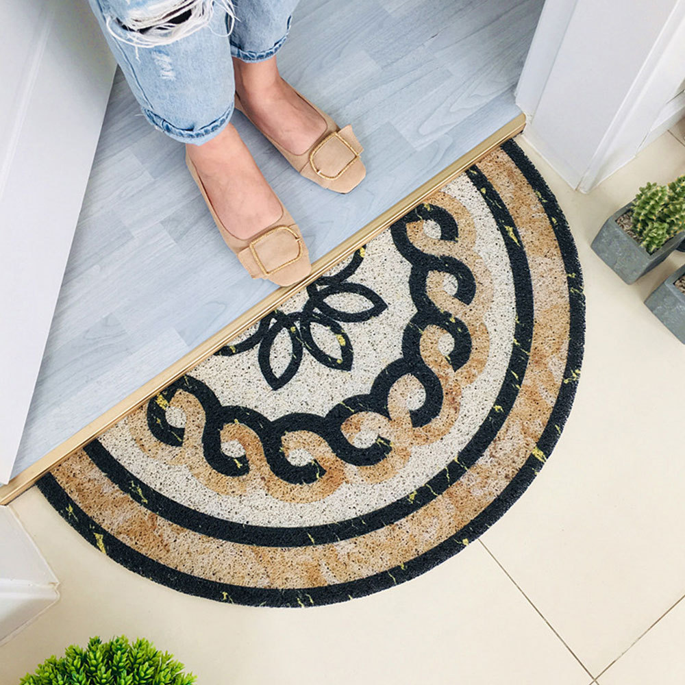 Marble Pattern Half-round Shap Outdoor Mat Black Water Absorption Carpet Anti-Slip Bathroom Mats Doormat Home Decorative Rugs