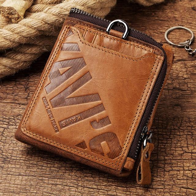 GZCZ Genuine Leather Men Wallet Fashion Coin Purse Card Holder Small Wallet Men Portomonee Male Clutch Zipper Clamp For Money 5
