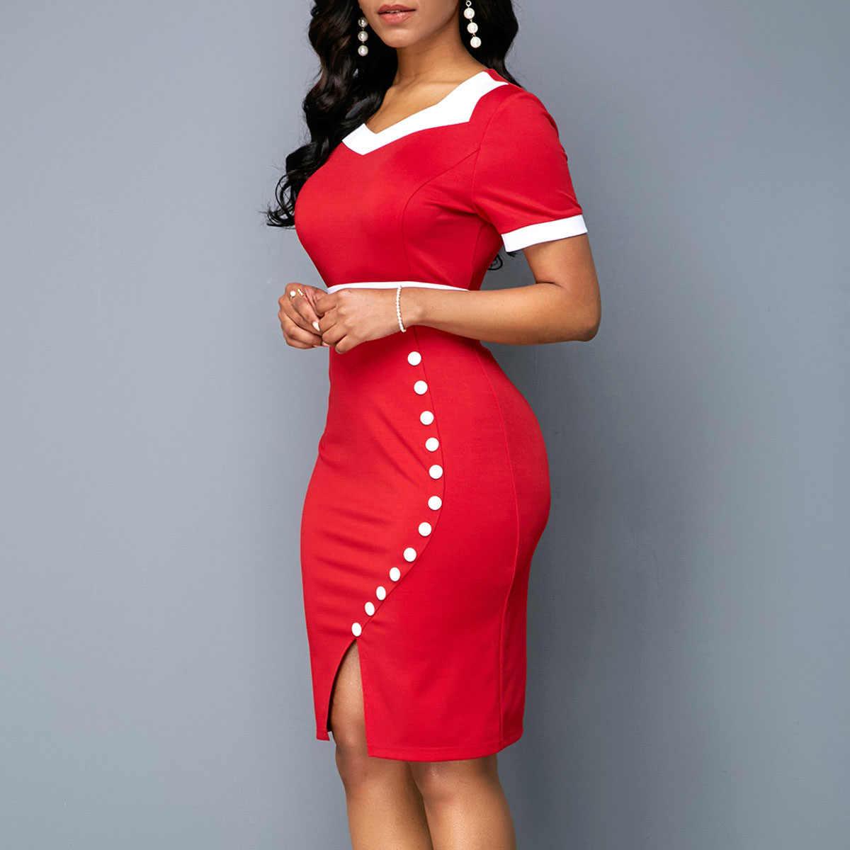 Летнее платье женское 2019 повседневное Плюс Размер Тонкое Лоскутное офисное облегающее платье винтажные элегантные сексуальные вечерние платья с v-образным вырезом