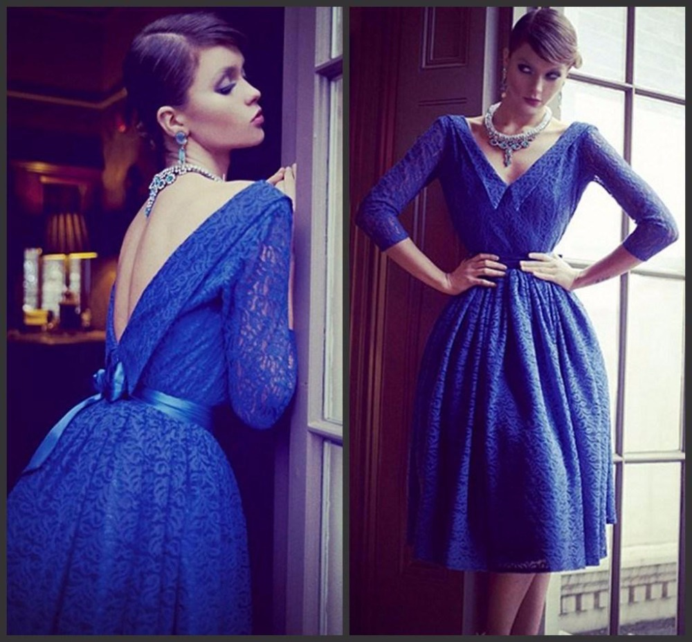 New Royal Blue Lace Short Prom Backless 3/4 Sleeve Plus Size Knee-length Evening Party V-neck Sashes Mother Of The Bride Dresses