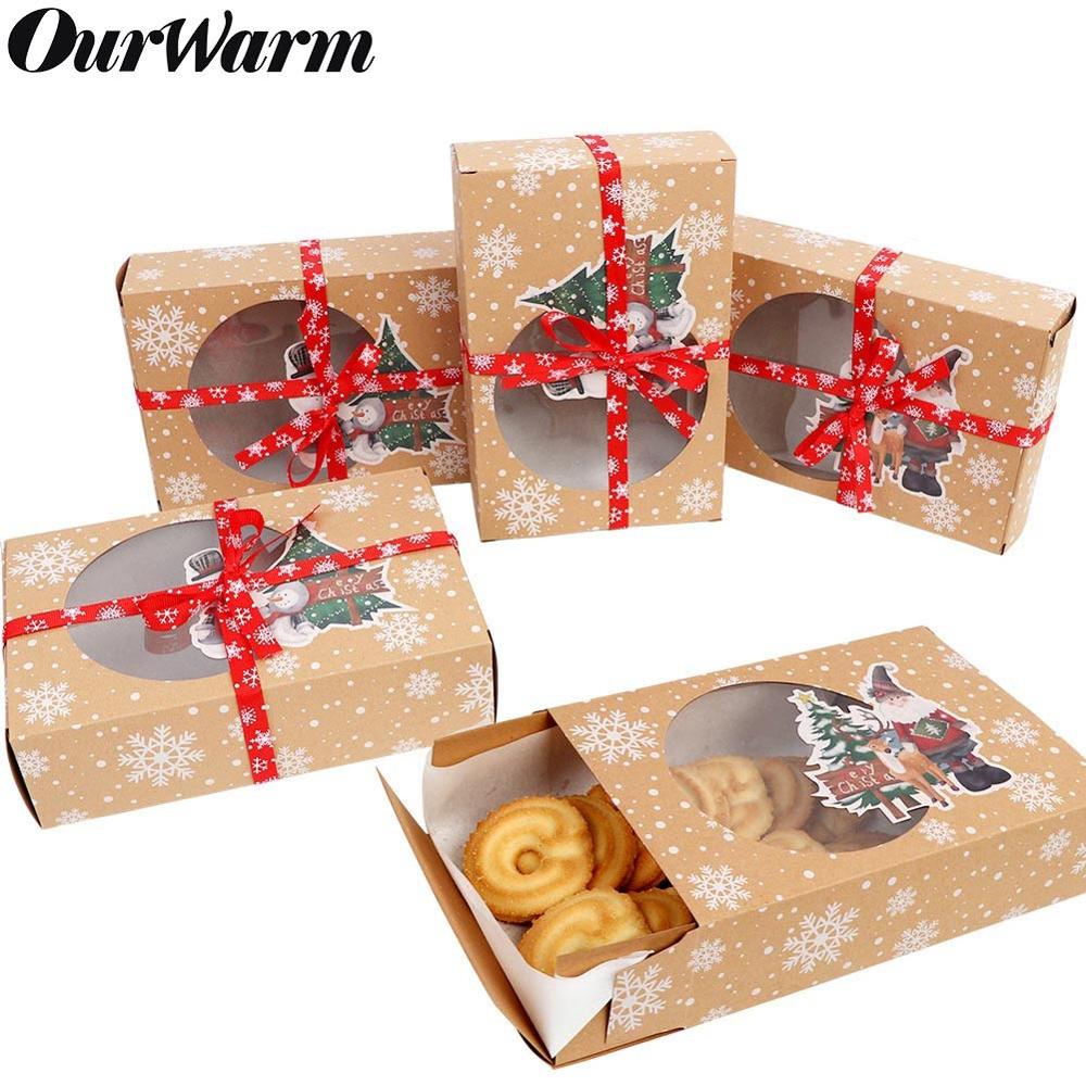 OurWarm 12pcs Christmas Cookie Boxes With Window Food Grade Kraft Bakery Boxes With Oilpaper And Ribbons For Holiday Gift Giving