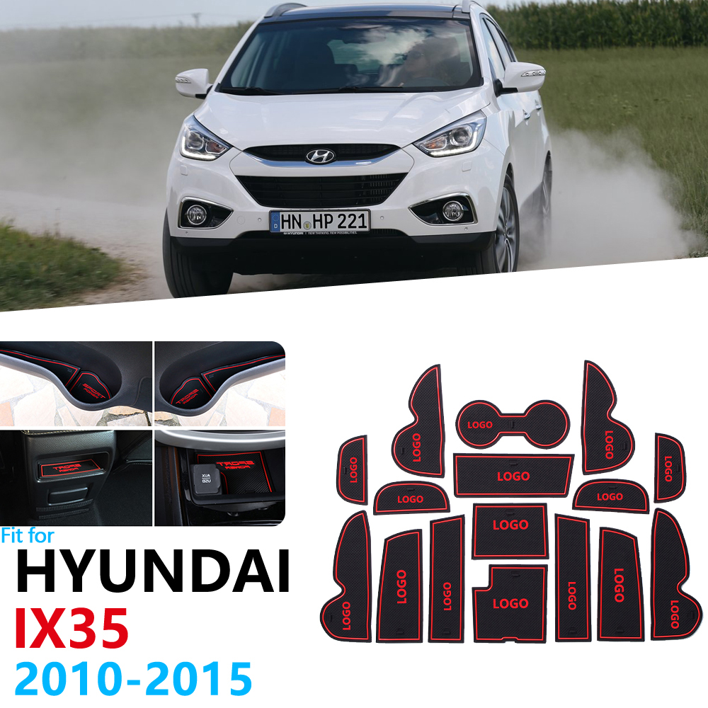 Anti-Slip Rubber Gate Slot Cup Mat For Hyundai Ix35 2010 2011 2012 2013 2014 2015 LM Tucson Ix Door Groove Mat Car Accessories