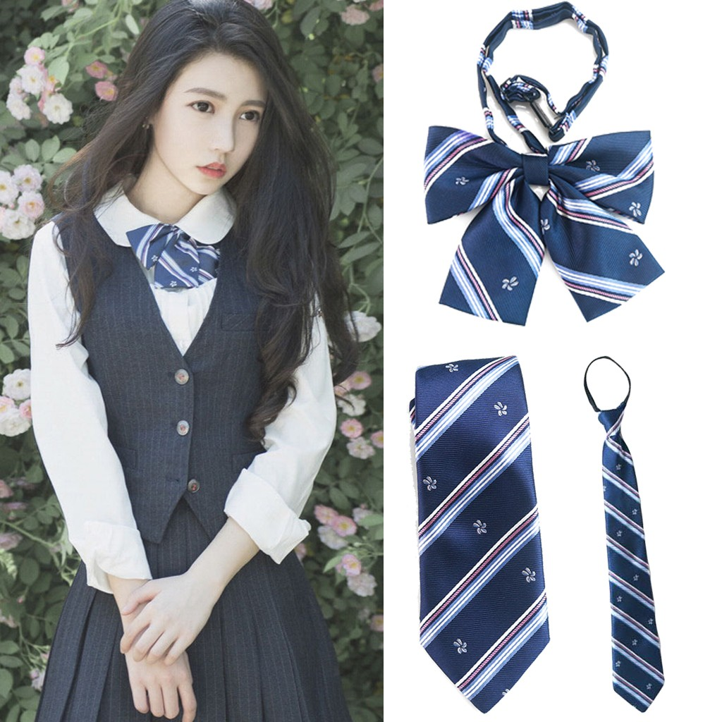 College Striped Plaid Female Necktie School Professional Uniform Girl Student Waitress Staff Bow Tie Shirt Accessories #35(China)