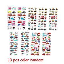 10 arkuszy losowy pojazd animowany styl samolotu 3D Cartoon naklejki zabawki dla dzieci księga gości owoce warzywa Cartoon naklejki