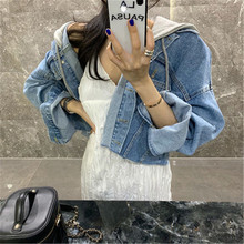 New Women's Short Denim Jackets Fall Retro Washed Fake Two-piece Sweater Hooded Frayed Loose Cropped Jean Jackets Females Top(China)