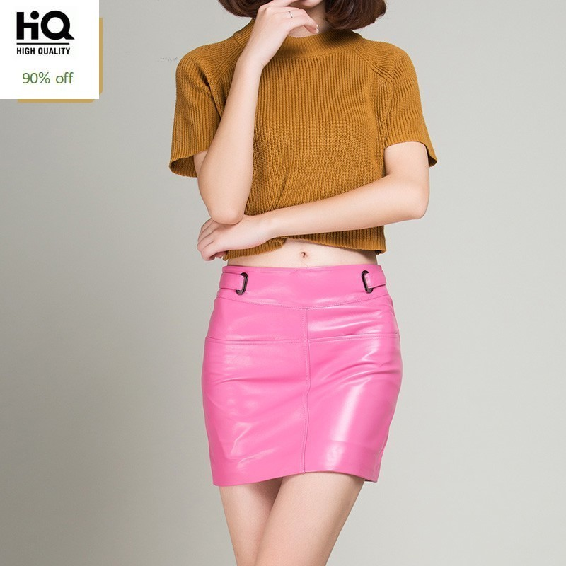 2020 New Pink Black Yellow Short Pencil Skirts Real Leather Fashion Summer Office Lady Sheepskin Sexy Mini Skirt High Quality