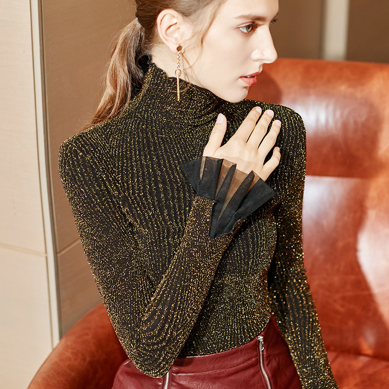 Ruffles Turtleneck Undershirts Women Autumn Winter 2019 Shinning T-Shirts Lady Gloring Soft Mesh Stretchy Tops Tees For Female