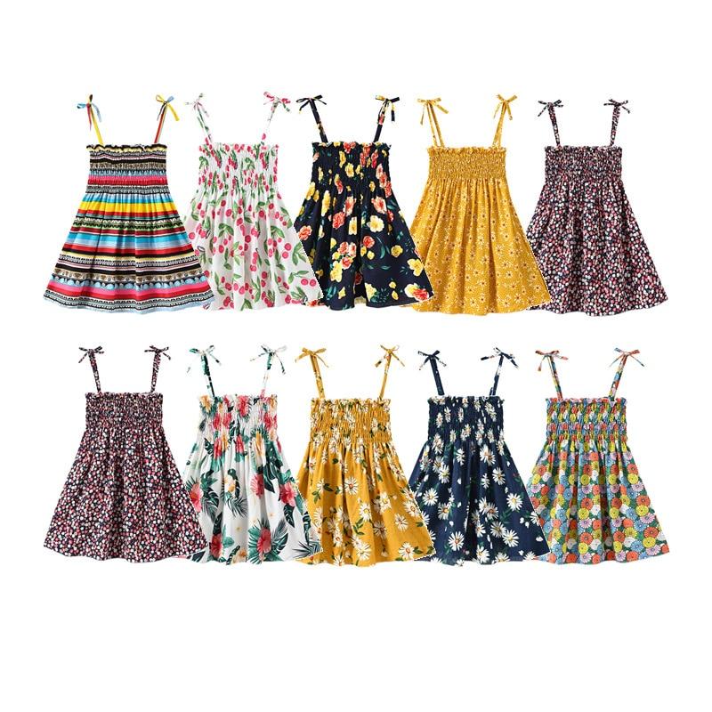 Girl Summer Dress 2020 Rainbow Flower Print Floral Dress Baby Girls Spring Bohemian Style Sweet Vintage Beach Dresses 2-6 Years