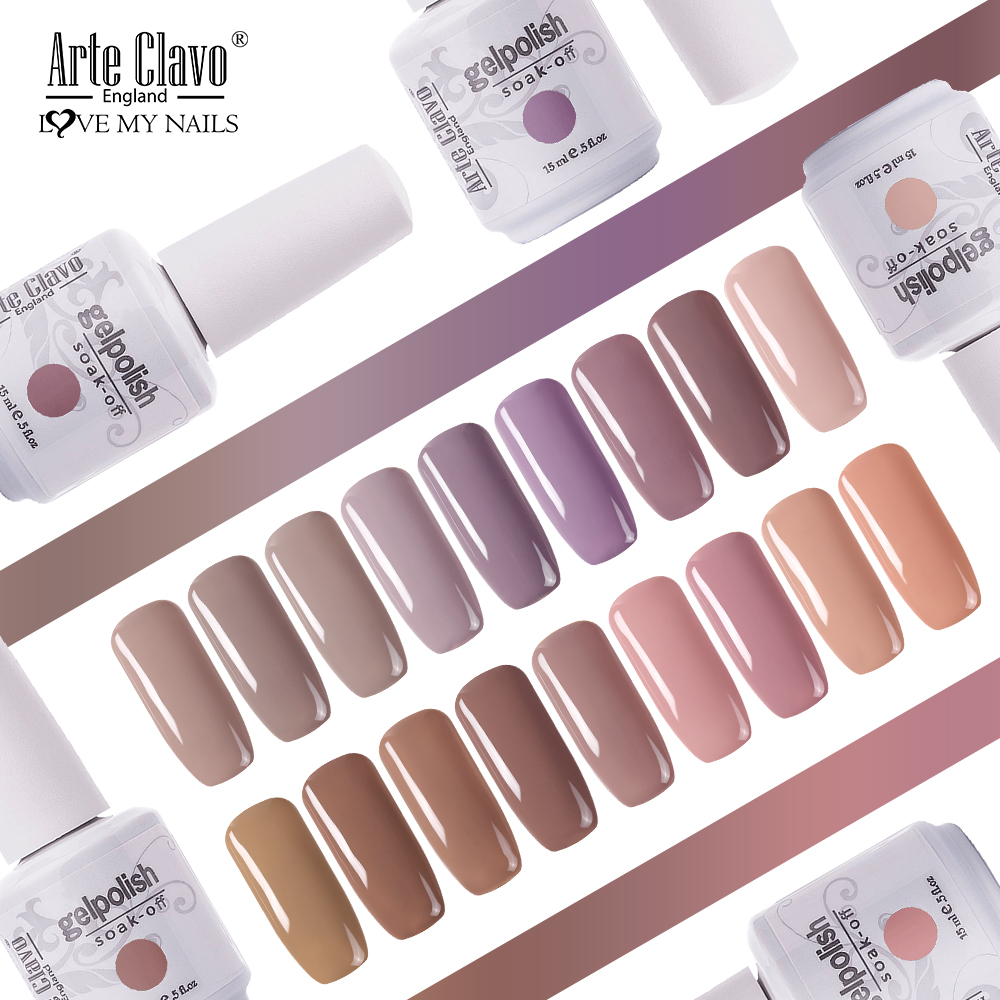 Arte Clavo Nude Colors UV Gel Nail Polish Oil Semi Permanent Primer Top Coat Gel Varnish Nail Art Manicure Gellack Polish Nagel