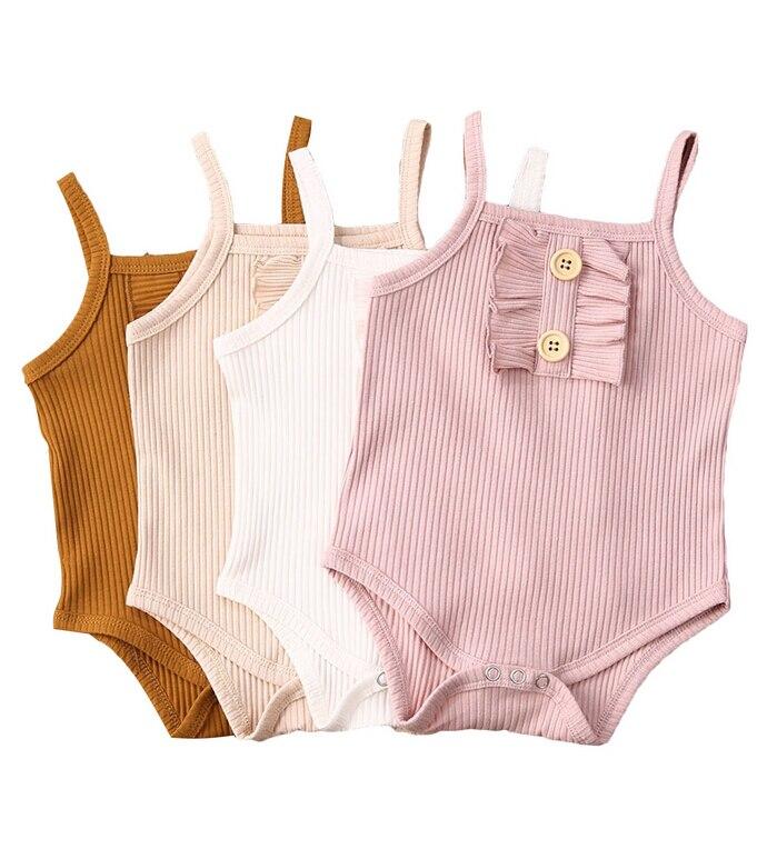 4Colors Newborn Infant Baby Boy Girl Solid Color Summer Jumpsuit Bodysuit Babies Summer Casual Bodysuits Clothes Outfit 0-24M