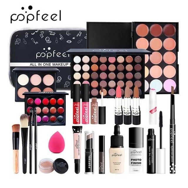 Juego de maquillaje completo, ceja de lápiz labial, brillo de labios, base de brocha para maquillaje en polvo, Kit de cosméticos con bolsa de maquillaje 1