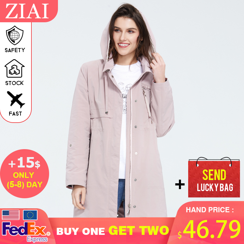 ZIAI 2020 Spring Jacket Women New Fashion Trench Coat Plus Size Long Zipper Windproof Female Coats 3 Color Top Quality  ZS-3501