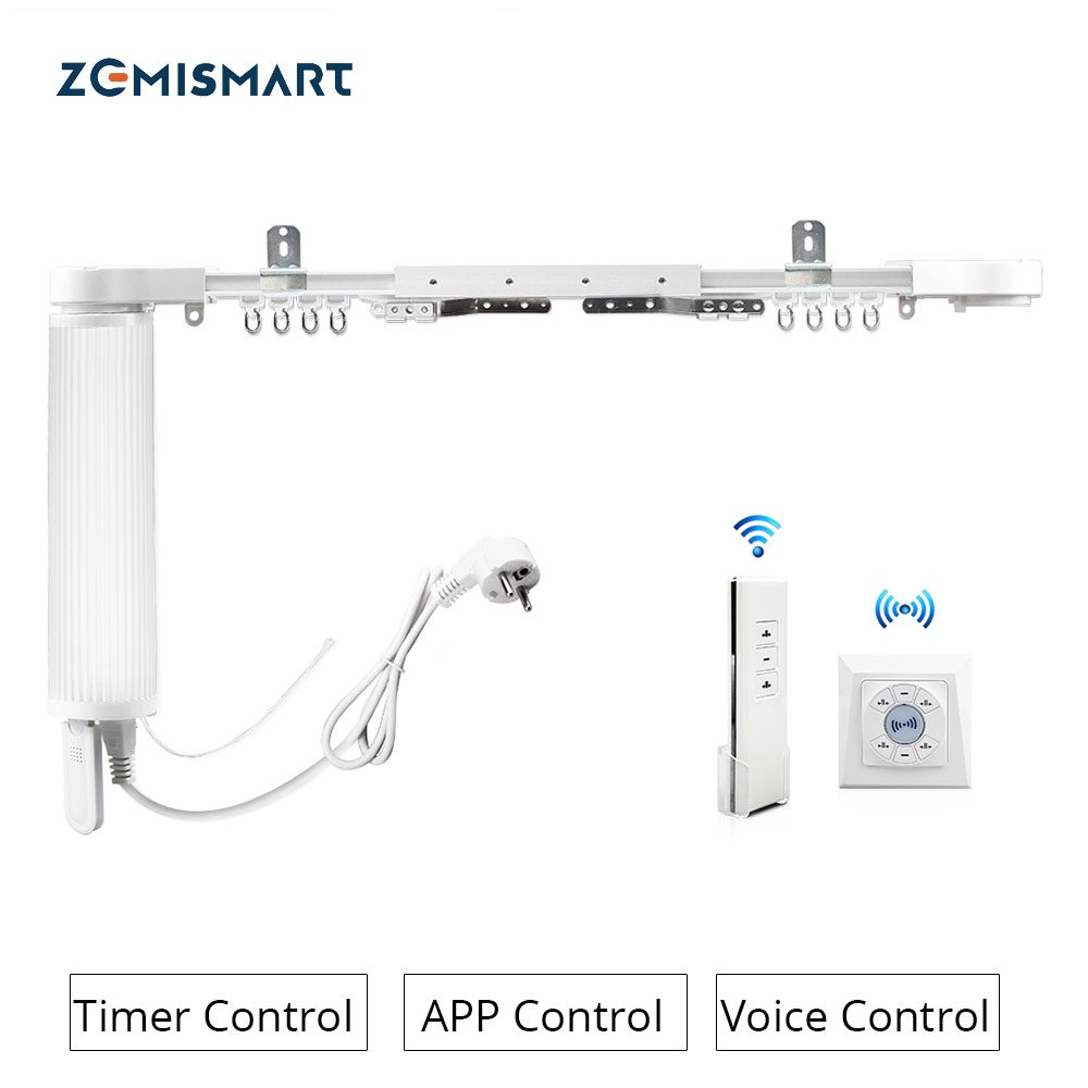 Zemismart Wall Mount Ceiling Mount Electric Curtain Double WiFi Tuya APP Alexa Google Assistant Voice Control Adjustable Track|Smart Remote Control| - AliExpress