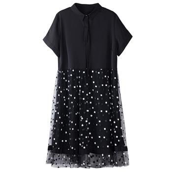 DIMANAF Plus Size Dress Women Clothing Summer Mesh Plaid Spliced Loose Female Office Lady Sundress Vestidos Black Shirt Dress 4