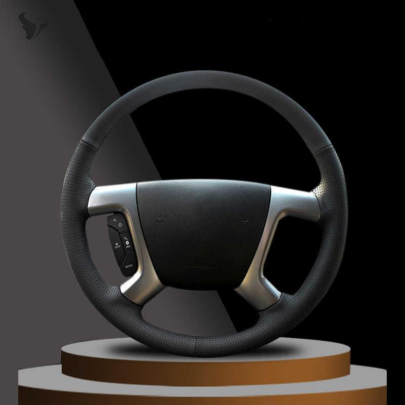 Adecuada Chevrolet Captiva Epica Special Cubierta del volante de cuero de vaca cosida a mano