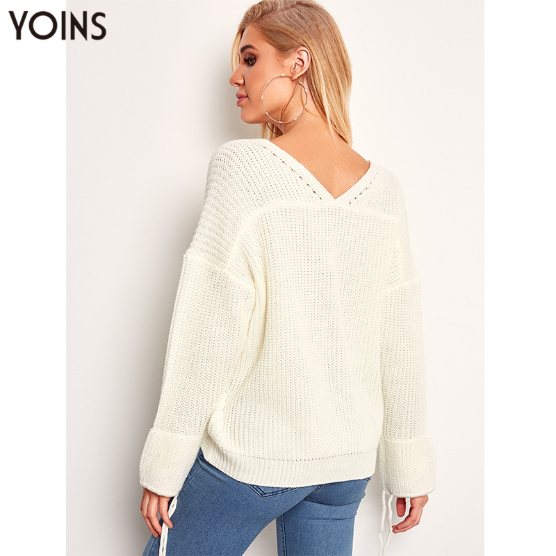 Fall 2019 Autumn Winter YOINS Women Sweaters Fashion Pull Femme White Jumper V neck Ladies Sweaters Casual Streetwear Pullovers in Pullovers from Women 39 s Clothing