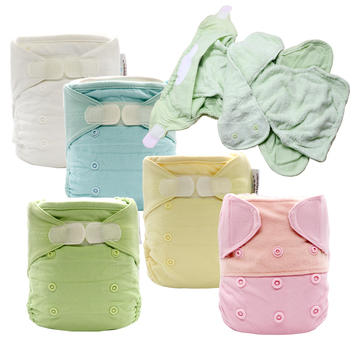 Baby Ecological Diapers Reusable Nappy One Size Washable Cloth Nappies Waterproof AI2 Bamboo Insert Pop In