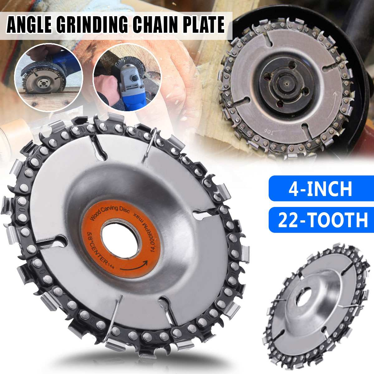 Durable 4/5 Inch Wood Carving Disc Woodworking Chain Grinder Chain Saws Disc Chain Plate Tool For 100/115/125MM Angle Grinding