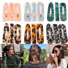 New 3PCS/Set Fashion Leopard Acetate Geometric Hair Clips For Women Girls Headband Sweet Hairpins Barrettes Hair Accessories Set