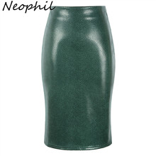 Neophil Leather Suede High Waist Midi Pencil Skirts 2019 Winter Womens Black Pink Vintage Style Fashion Office Ladies Saia S28A2