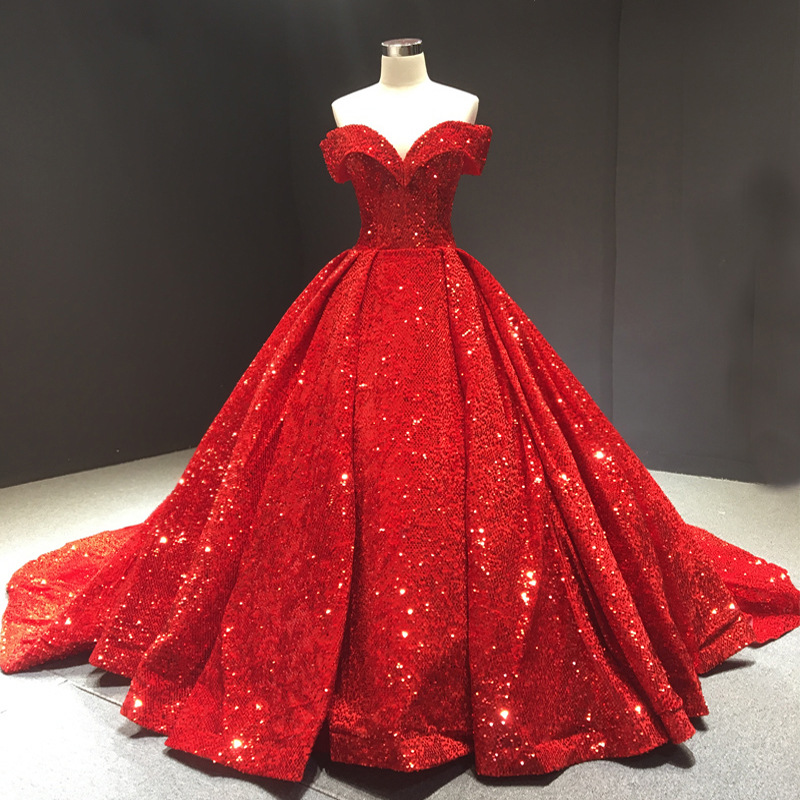 Gryffon Wedding Dress Luxury Boat Neck Court Train Bling Bling Ball Gown Vintage Wedding Gowns Custom Size Vestido De Noiva