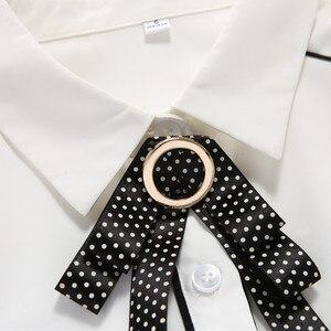 Image 5 - אלגנטי שיפון חולצה נשים ארוך שרוול סתיו חדש Yemperament קשת עניבת Slim חולצות משרד גבירותיי עבודה מקצועי חולצות