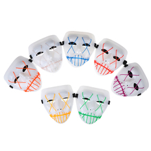 Glowing Lights EL Wire Horror Mask Purge Clown Halloween Zombie