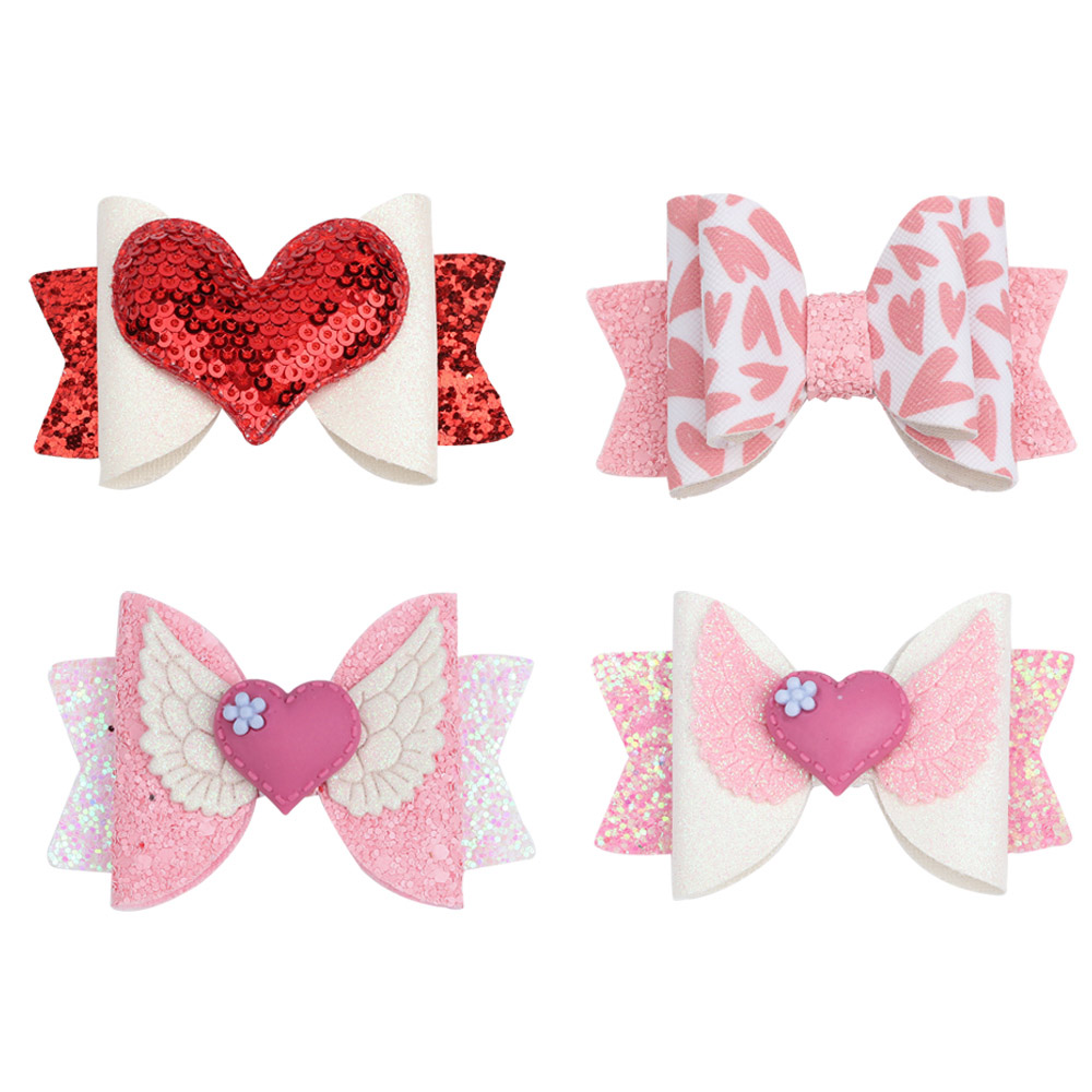 Red Pink Heart with wings headband for toddler girls Furry Heart hair clip for Valentines Day