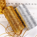 1.5mm gold/silver wire tag Twisted Thread flat hollow diy gifts packaging Macrame Cord Rope Ribbon Crafts Decoration 100meters
