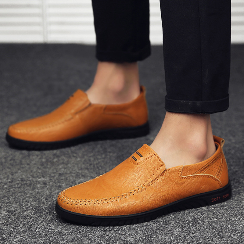 Fashion Summer Soft Moccasins Men Loafers Genuine Leather Flats Driving Shoes Light Brown 15M US