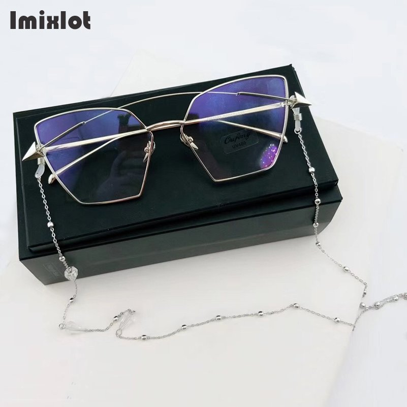 Fashion Triangle Crystal Beaded Eyeglass Eyewears Sunglasses Reading Glasses Chain Cord Holder Neck Strap Rope