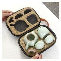 Kreative Tragbare Tee Set für Reisen mit Topf Tassen Tee Kanister Tee Set für Reisen Im Freien mit Tasche Paket|Teegeschirr-Sets|   -