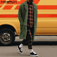 INCERUN Men's Autumn Winter Furry Warm Long Sleeve Cardigan Jackets Casual Chic Solid Color Front Open Long Coats Size S 5XL