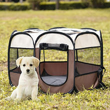 Portable Outdoor Kennels Fences Dog Tent House For Dog Foldable Indoor Puppy Cat Pet Cage Octagon Pet Supplies вольер для собак(China)