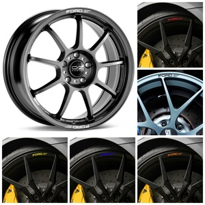 For x8 FORD ST Car Rim Wheel Alloy Curved Decals Stickers Focus Mondeo Fiesta Fusion Mustang Taurus Escape