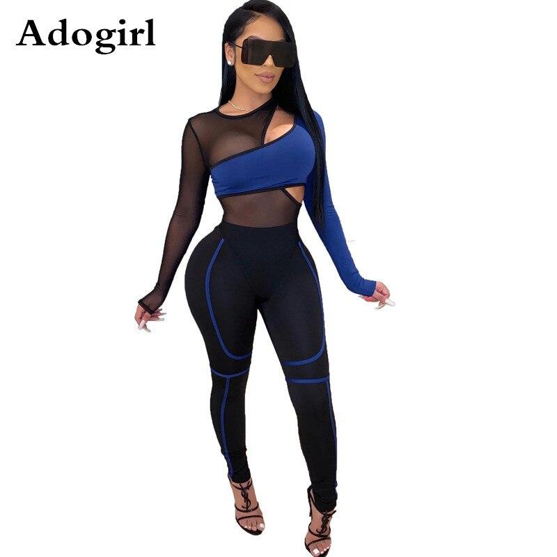 2 Piece Joggers Tracksuit Long Sleeve Mesh Hollow Out Bandage Bodysuit+Pencil Pants  Matching Sets Jogging Femme Plus Size S-XXL