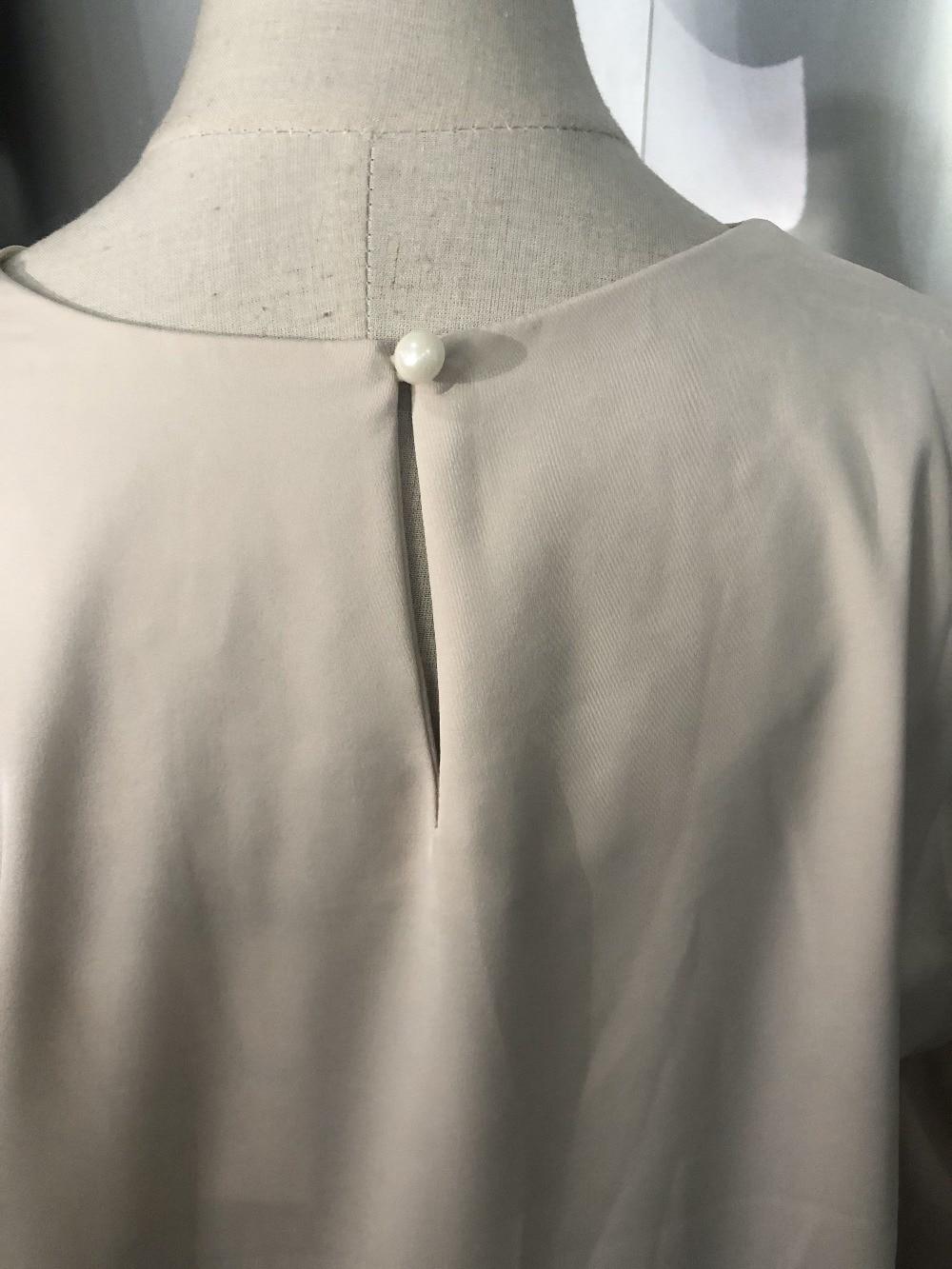 Hb848f6bb3297432fa89dbb140fe0cbb0r - Spring / Autumn O-Neck Long Puff Sleeves Two-Button Cuffs Loose Solid Blouse