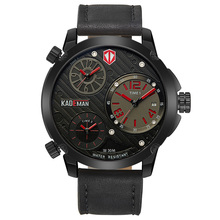 KADEMAN Men's Sports Watches Calendar Waterproof Military Quartz Wrist Watches Multiple Time Zone Display Leather Strap Relogios read brand tops 2017 multifunction full steel second hand watches for men sapphire crystal multiple time zone calendar 8083gq