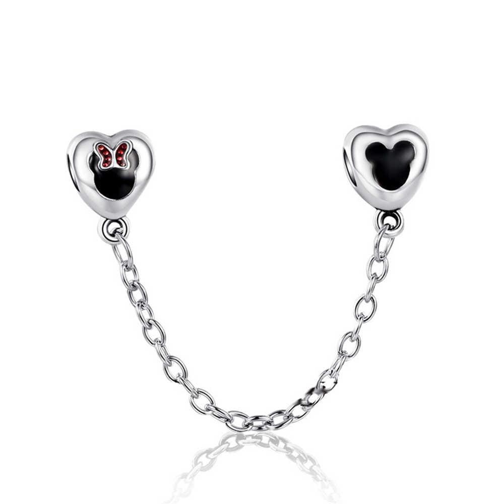 28 stylów posrebrzany koralik urok miłość serce Mickey Minnie łańcuch bezpieczeństwa róża złote koraliki pasuje do kobiet Pandora bransoletka DIY biżuteria