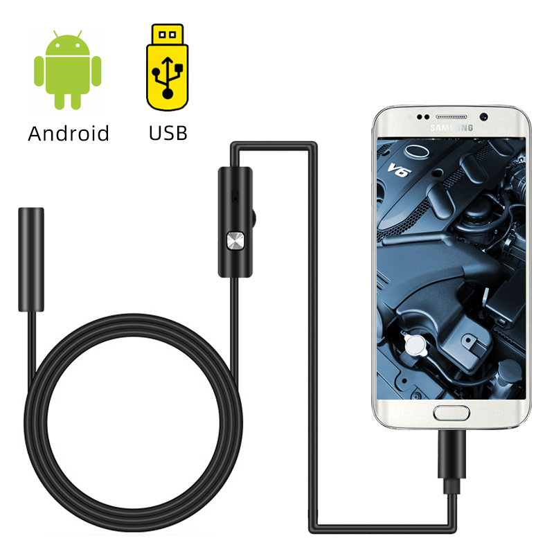 Endoscope Camera Mini Camcorders 7mm Flexible Micro USB Inspection Borescope Camera 6LEDs Adjustable IP67 Waterproof