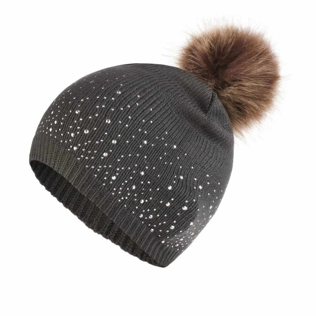 Musim Dingin Topi untuk Anak-anak Lucu Bayi Balita Anak Unisex Merajut Wol Hemming Hat Padat Berlian Imitasi Tetap Hangat Musim Dingin Hairball Cap