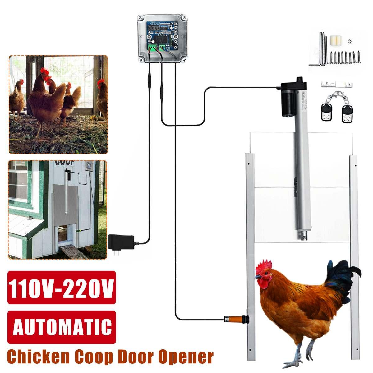 Controle temporizador de porta automático frango, abridor de porta, kit de acessórios para fazenda 110-220v, animais de estimação, brinquedos de cachorro abridor de porta