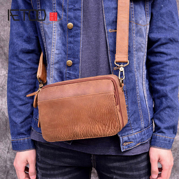 AETOO Genuine Leather Mens Bags Male Crossbody  Small Flap Casual Messenger Bag Shoulder genuine leather bag