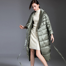 Shuchan Thick Down Coat Woman 2019 Winter  90% White Duck Belt Solid Long Women Designer High Quality Green
