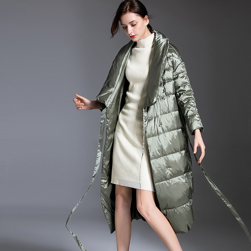 Shuchan Thick   Down     Coat   Woman 2019 Winter 90% White Duck   Down   Belt Solid Long Women   Down     Coat   Designer High Quality Green