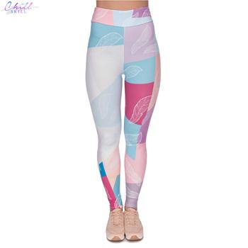 CHILL umiejętność gorąca sprzedaż wysokiej talii Legging pastelowe pióra drukowanie kobiet legginsy Fitness eleganckie spodnie damskie tanie i dobre opinie Chill Skill Połowy łydki CN (pochodzenie) REGULAR SEAM Spandex(10 -20 ) STANDARD Z dzianiny 3 4 LG 01 WOMEN STREETWEAR