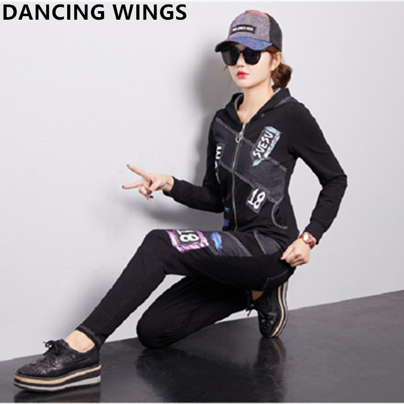 Autumn Women Tracksuit Two Piece Set Denim Hoodies Jacket + Jeans Pants Casual Women's Sportswear Sweatershirt Suit